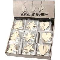 Décorations 3D en bois, coeur, étoile et arbre, dim. 7,5x7,5x0,2 cm, 3x30 pièce/ 1 Pq.