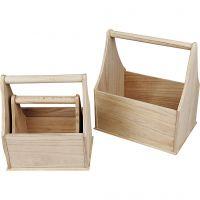 Paniers en bois, dim. 24x17,5x28 cm, 3 pièce/ 1 set