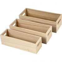 Bacs de stockage, H: 6,5-7,5 cm, L: 22+23,5+25 cm, L: 6,5+7,5+8,5 cm, 3 pièce/ 1 set