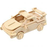 Kit de construction 3D en bois, voiture, dim. 13x9x6 cm, 1 pièce