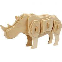 Kit de construction 3D en bois, rhino, dim. 16x4x8 cm, 1 pièce