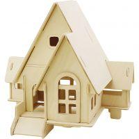 Kit de construction 3D en bois, Maison avec rampe, dim. 22,5x17,5x20,5 , 1 pièce