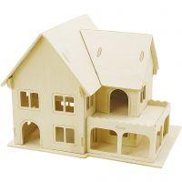 Kit de construction 3D en bois, Maison avec véranda, dim. 22,5x16x17,5 , 1 pièce