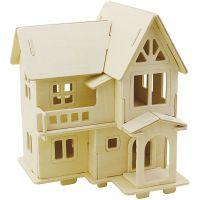 Kit de construction 3D en bois, Maison avec balcon, dim. 15,8x17,5x19,5 , 1 pièce