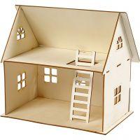 Kit de construction d'une maison de poupée, H: 25 cm, dim. 18x27 cm, 1 pièce