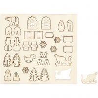 Figurines à assembler, Noël, L: 15,5 cm, L: 17 cm, 1 Pq.