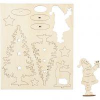 Figurines à assembler, St Nicolas, arbre de Noël, cerf, L: 20 cm, L: 17 cm, 1 Pq.