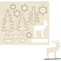 Figurines à assembler, forêt avec cerfs, L: 15,5 cm, L: 17 cm, 1 Pq.