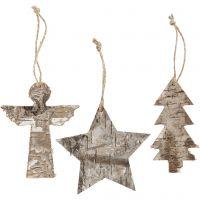 Décorations de Noël, H: 10 cm, L: 8 cm, 3 pièce/ 1 Pq.
