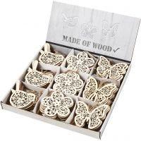 Décorations en bois, papillon, fleur et oiseau, H: 10 cm, 90 pièce/ 1 Pq.