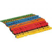 Bâtons de construction, L: 11,4 cm, L: 10 mm, couleurs assorties, 30 pièce/ 1 Pq.
