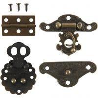 Mini-ferrures, dim. 30-35 mm, or antique, 10 set/ 1 Pq.