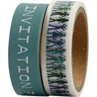Bande adhésive Washi Tape, L: 15 mm, turquoise, 2x5 m/ 1 Pq.