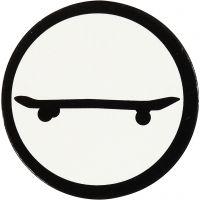 Étquette en carton, skateboard, d: 25 mm, blanc/noir, 20 pièce/ 1 Pq.
