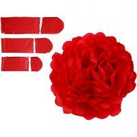 Pompons en papier, d: 20+24+30 cm, 16 gr, rouge, 3 pièce/ 1 Pq.