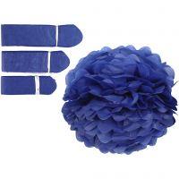 Pompons en papier, d: 20+24+30 cm, 16 gr, bleu foncé, 3 pièce/ 1 Pq.