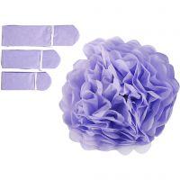 Pompons en papier, d: 20+24+30 cm, 16 gr, violet, 3 pièce/ 1 Pq.
