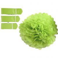 Pompons en papier, d: 20+24+30 cm, 16 gr, vert citron, 3 pièce/ 1 Pq.