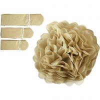 Pompons en papier, d: 20+24+30 cm, 16 gr, or, 3 pièce/ 1 Pq.