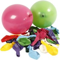 Ballons, Ronds, d: 23 cm, couleurs assorties, 100 pièce/ 1 Pq.