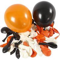 Ballons, Ronds, d: 23-26 cm, noir, orange, blanc, 100 pièce/ 1 Pq.