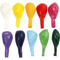 Ballons, rond, d: 23 cm, couleurs assorties, 10 pièce/ 1 Pq.
