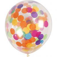 Ballons avec confettis, rond, d: 23 cm, transparent, 4 pièce/ 1 Pq.