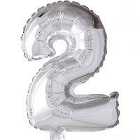 Ballon en aluminium, 2, H: 41 cm, argent, 1 pièce