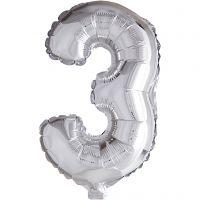 Ballon en aluminium, 3, H: 41 cm, argent, 1 pièce