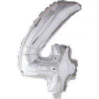 Ballon en aluminium, 4, H: 41 cm, argent, 1 pièce