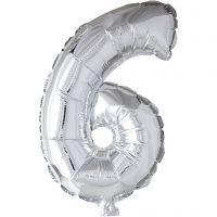Ballon en aluminium, 6, H: 41 cm, argent, 1 pièce