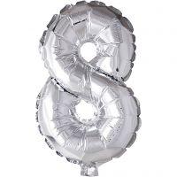 Ballon en aluminium, 8, H: 41 cm, argent, 1 pièce
