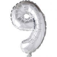 Ballon en aluminium, 9, H: 41 cm, argent, 1 pièce
