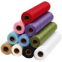 Chemin de table en tissu filet, L: 30 cm, couleurs assorties, 11x10 m/ 1 Pq.