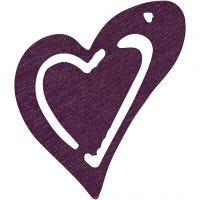 Coeur, dim. 25x22 mm, violet foncé, 20 pièce/ 1 Pq.