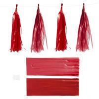 Pompons en papier, dim. 12x35 cm, 14 gr, rouge vin/rouge, 12 pièce/ 1 Pq.