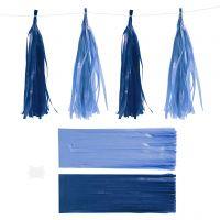Pompons en papier, dim. 12x35 cm, 14 gr, bleu foncé/bleu clair, 12 pièce/ 1 Pq.