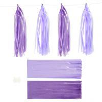 Pompons en papier, dim. 12x35 cm, 14 gr, violet foncé/mauve clair, 12 pièce/ 1 Pq.