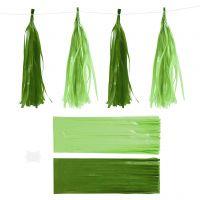 Pompons en papier, dim. 12x35 cm, 14 gr, vert foncé/citron vert, 12 pièce/ 1 Pq.