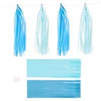 Pompons en papier, dim. 12x35 cm, 14 gr, bleu, bleu clair, 12 pièce/ 1 Pq.