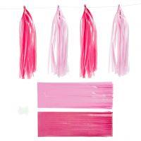 Pompons en papier, dim. 12x35 cm, rose, rouge clair, 12 pièce/ 1 Pq.