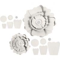 Fleurs en papier, d: 15+25 cm, 230 gr, blanc, 2 pièce/ 1 Pq.