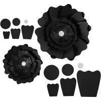 Fleurs en papier, d: 15+25 cm, 230 gr, noir, 2 pièce/ 1 Pq.