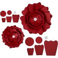 Fleurs en papier, d: 15+25 cm, 230 gr, rouge, 2 pièce/ 1 Pq.