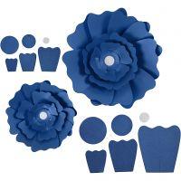 Fleurs en papier, d: 15+25 cm, 230 gr, bleu, 2 pièce/ 1 Pq.