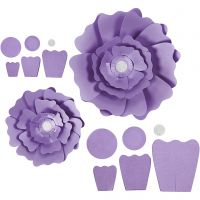 Fleurs en papier, d: 15+25 cm, 230 gr, violet, 2 pièce/ 1 Pq.