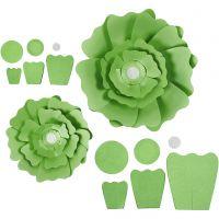 Fleurs en papier, d: 15+25 cm, 230 gr, vert, 2 pièce/ 1 Pq.