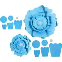 Fleurs en papier, d: 15+25 cm, 230 gr, bleu clair, 2 pièce/ 1 Pq.