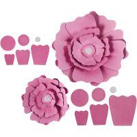 Fleurs en papier, d: 15+25 cm, 230 gr, rouge clair, 2 pièce/ 1 Pq.