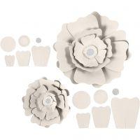 Fleurs en papier, d: 15+25 cm, 230 gr, blanc cassé, 2 pièce/ 1 Pq.